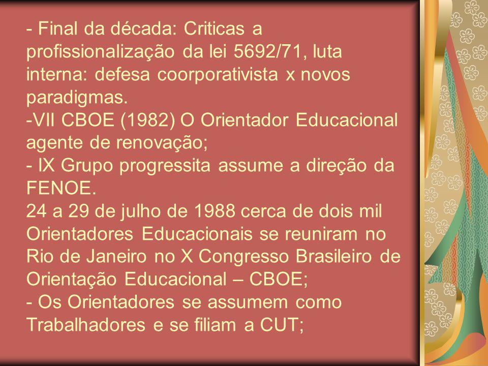 - Final da década: Criticas a profissionalização da lei 5692/71, luta interna: defesa coorporativista x novos paradigmas. -VII CBOE (1982) O Orientado