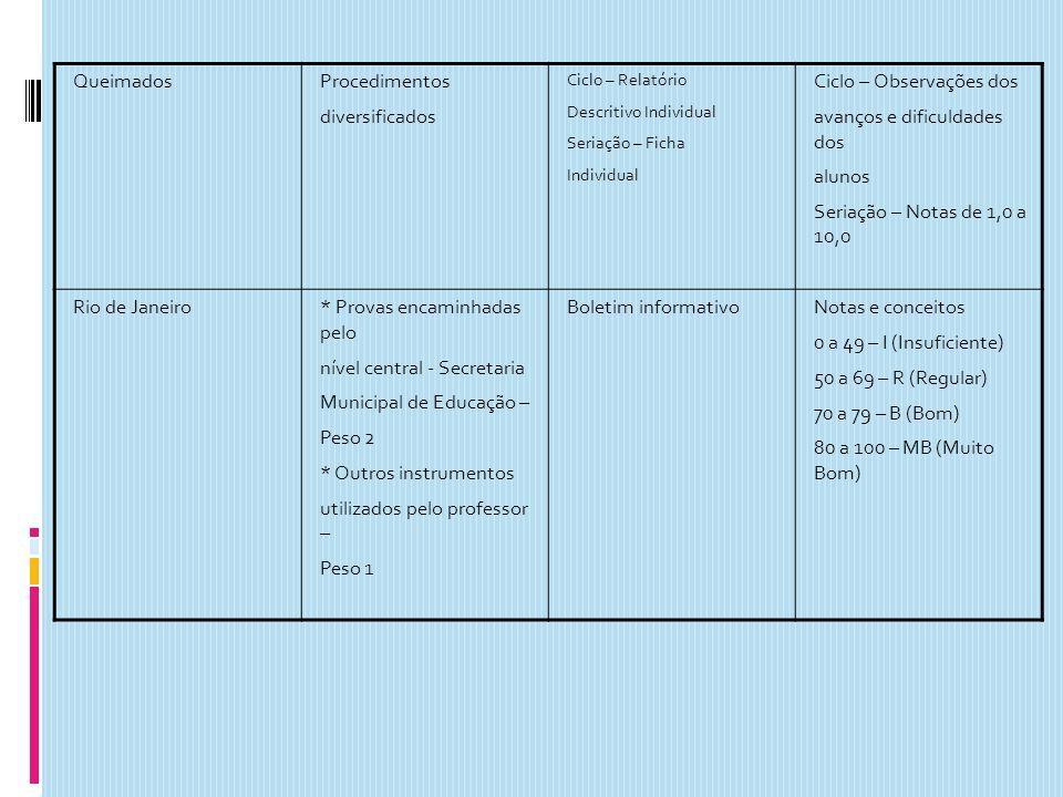 QueimadosProcedimentos diversificados Ciclo – Relatório Descritivo Individual Seriação – Ficha Individual Ciclo – Observações dos avanços e dificuldad