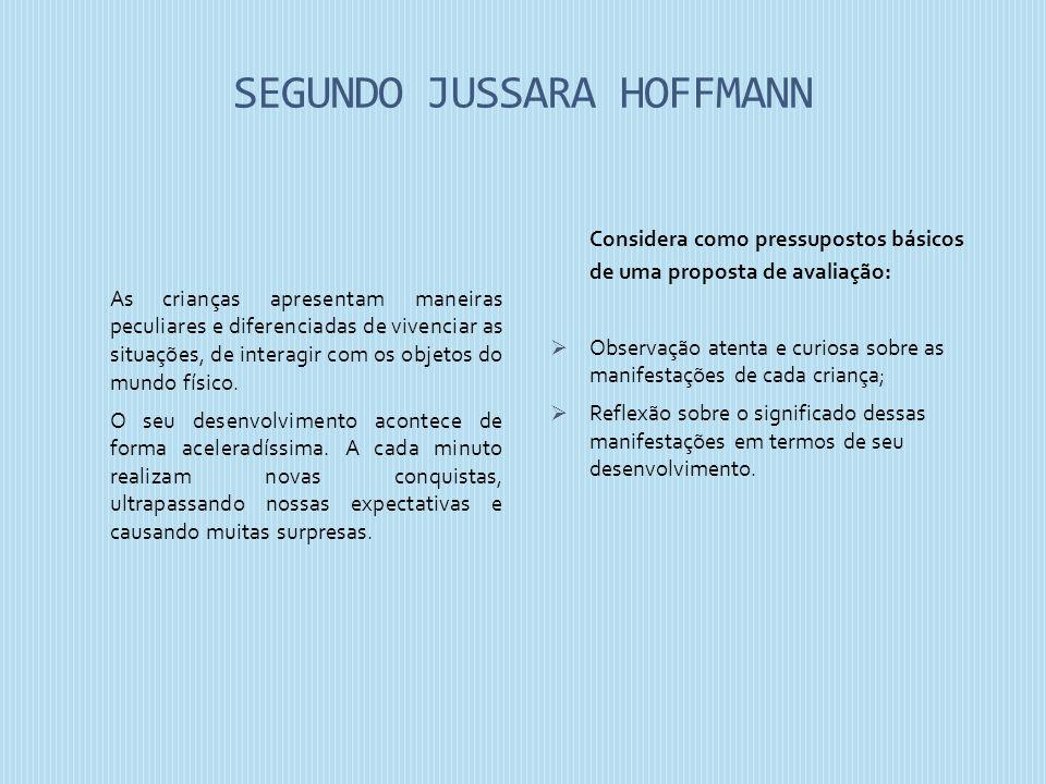 SEGUNDO JUSSARA HOFFMANN As crianças apresentam maneiras peculiares e diferenciadas de vivenciar as situações, de interagir com os objetos do mundo fí