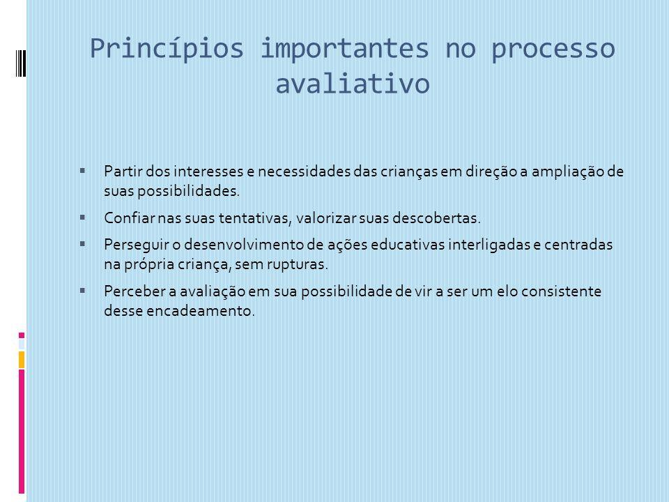 Princípios importantes no processo avaliativo Partir dos interesses e necessidades das crianças em direção a ampliação de suas possibilidades. Confiar