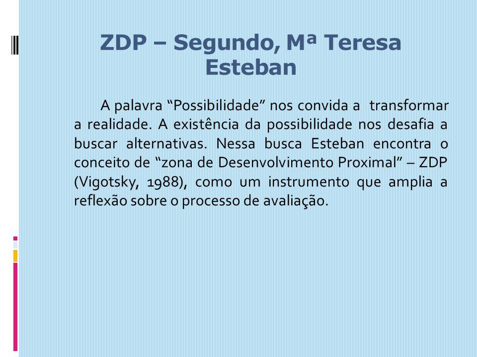 ZDP – Segundo, Mª Teresa Esteban A palavra Possibilidade nos convida a transformar a realidade. A existência da possibilidade nos desafia a buscar alt