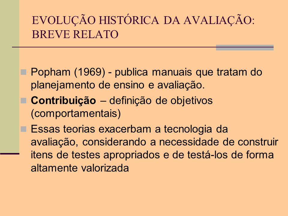 EVOLUÇÃO HISTÓRICA DA AVALIAÇÃO: BREVE RELATO Popham (1969) - publica manuais que tratam do planejamento de ensino e avaliação. Contribuição – definiç