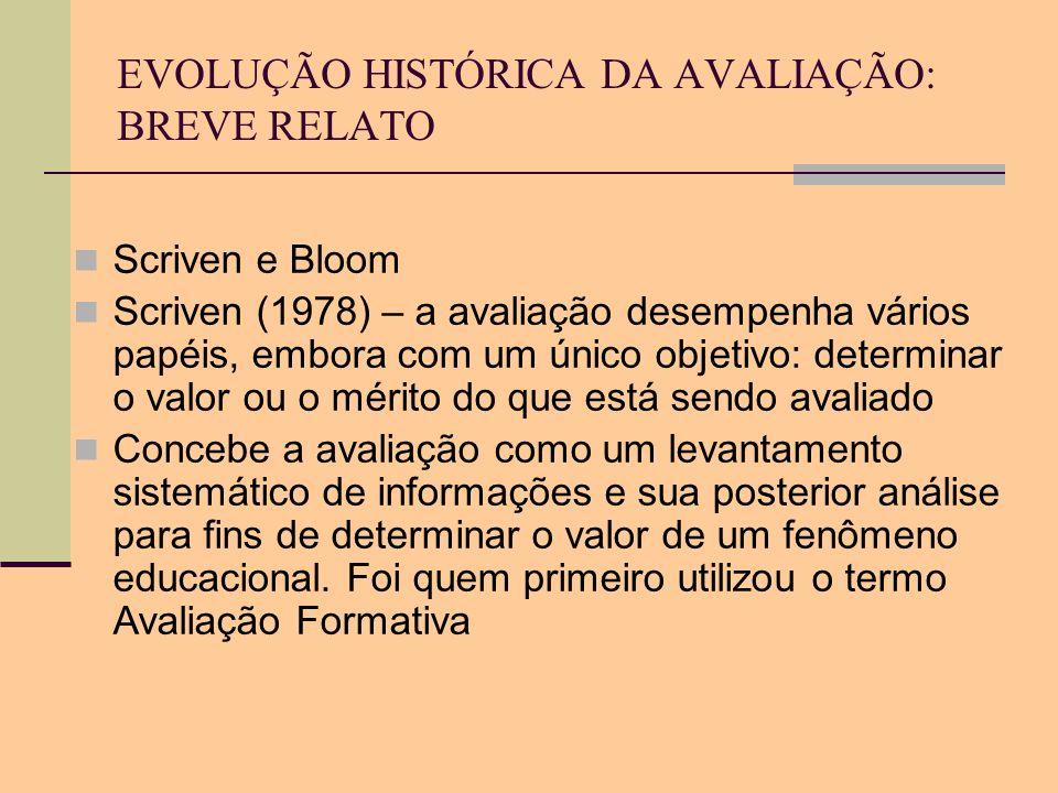 EVOLUÇÃO HISTÓRICA DA AVALIAÇÃO: BREVE RELATO Scriven e Bloom Scriven (1978) – a avaliação desempenha vários papéis, embora com um único objetivo: det