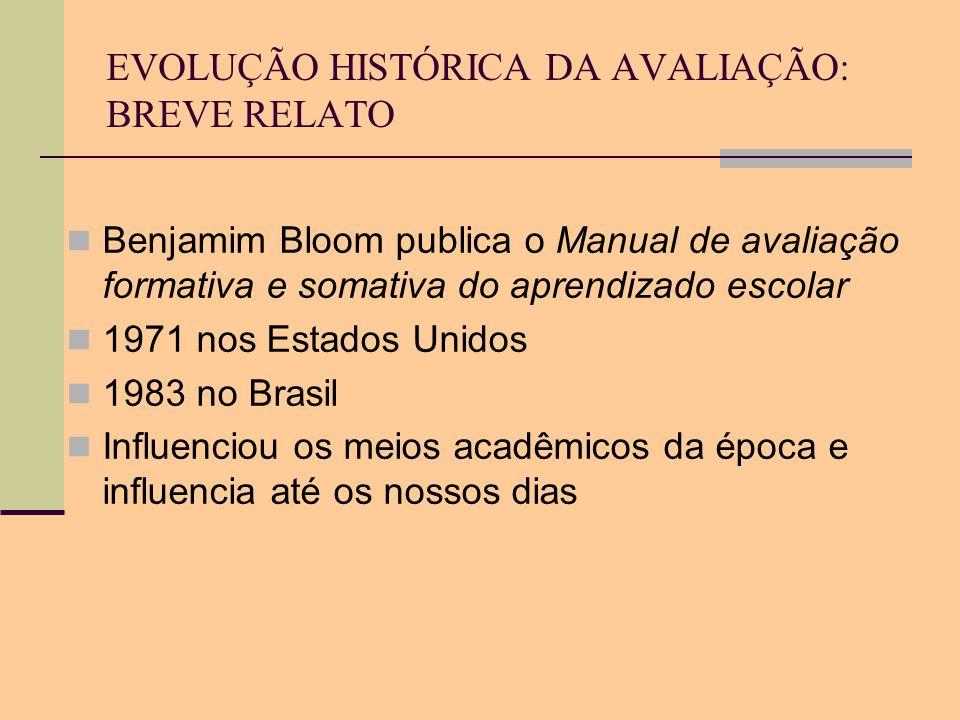EVOLUÇÃO HISTÓRICA DA AVALIAÇÃO: BREVE RELATO Benjamim Bloom publica o Manual de avaliação formativa e somativa do aprendizado escolar 1971 nos Estado