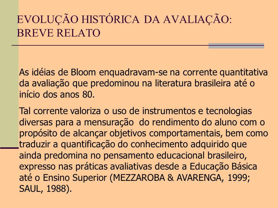 EVOLUÇÃO HISTÓRICA DA AVALIAÇÃO: BREVE RELATO As idéias de Bloom enquadravam-se na corrente quantitativa da avaliação que predominou na literatura bra