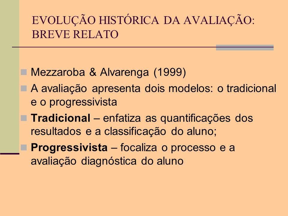 EVOLUÇÃO HISTÓRICA DA AVALIAÇÃO: BREVE RELATO Mezzaroba & Alvarenga (1999) A avaliação apresenta dois modelos: o tradicional e o progressivista Tradic