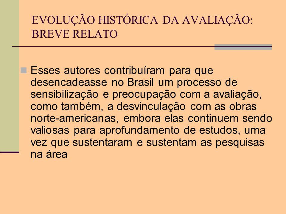 EVOLUÇÃO HISTÓRICA DA AVALIAÇÃO: BREVE RELATO Esses autores contribuíram para que desencadeasse no Brasil um processo de sensibilização e preocupação