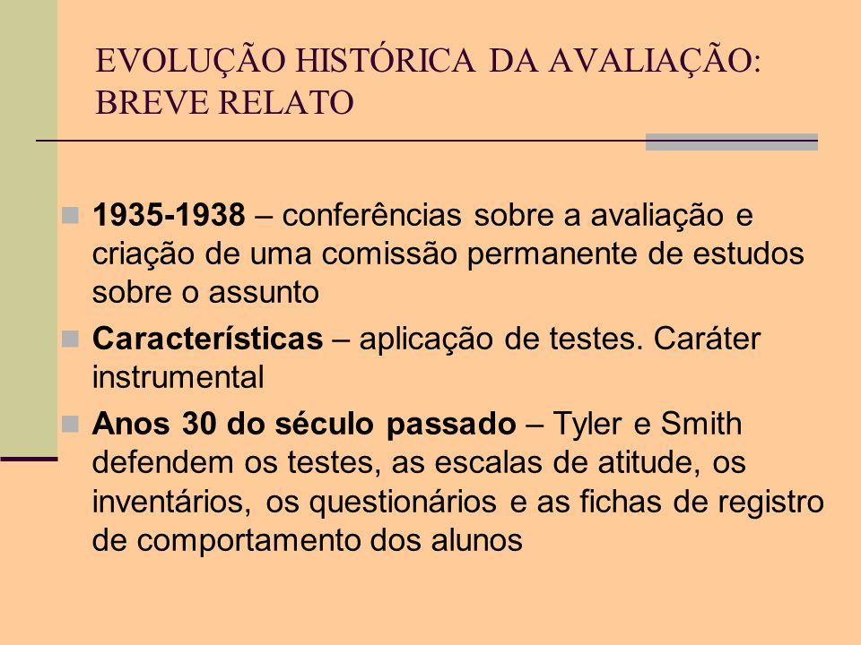 EVOLUÇÃO HISTÓRICA DA AVALIAÇÃO: BREVE RELATO 1935-1938 – conferências sobre a avaliação e criação de uma comissão permanente de estudos sobre o assun