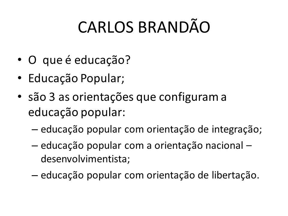 CARLOS BRANDÃO O que é educação? Educação Popular; são 3 as orientações que configuram a educação popular: – educação popular com orientação de integr