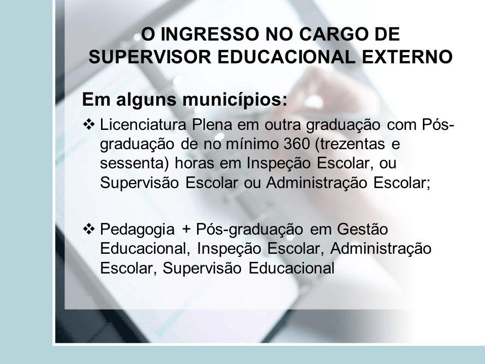 O INGRESSO NO CARGO DE SUPERVISOR EDUCACIONAL EXTERNO Em alguns municípios: Licenciatura Plena em outra graduação com Pós- graduação de no mínimo 360