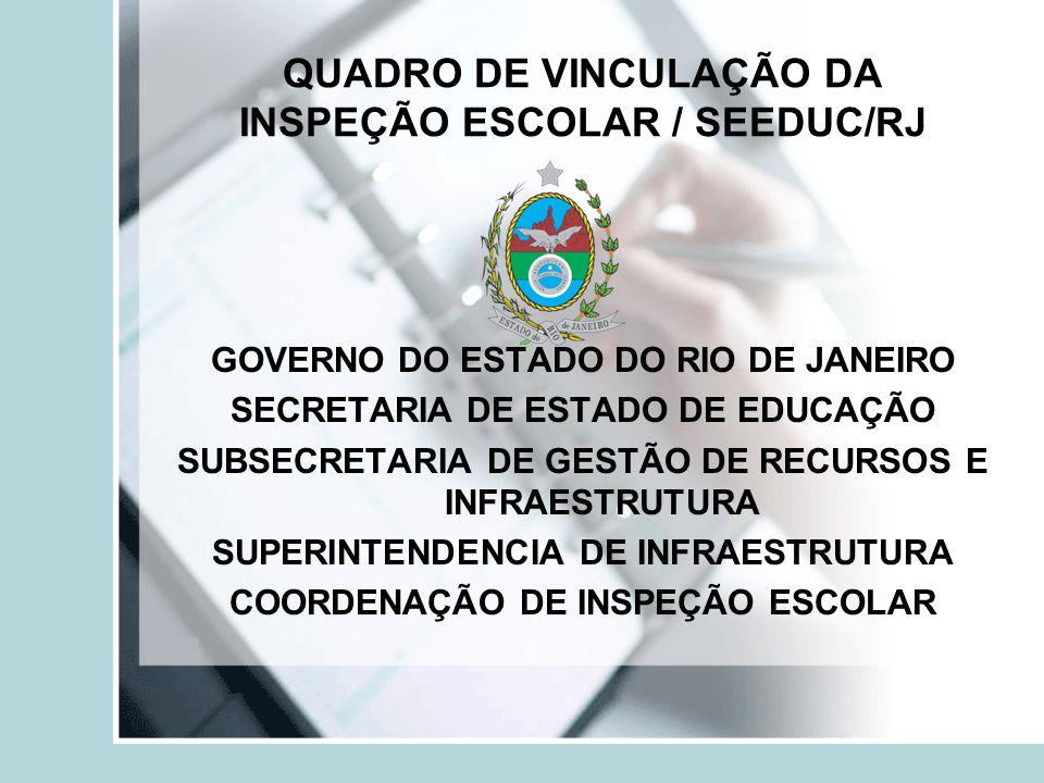QUADRO DE VINCULAÇÃO DA INSPEÇÃO ESCOLAR / SEEDUC/RJ GOVERNO DO ESTADO DO RIO DE JANEIRO SECRETARIA DE ESTADO DE EDUCAÇÃO SUBSECRETARIA DE GESTÃO DE R