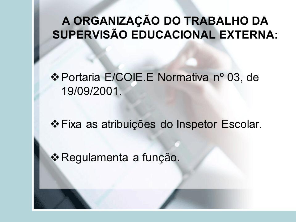 A ORGANIZAÇÃO DO TRABALHO DA SUPERVISÃO EDUCACIONAL EXTERNA: Portaria E/COIE.E Normativa nº 03, de 19/09/2001. Fixa as atribuições do Inspetor Escolar