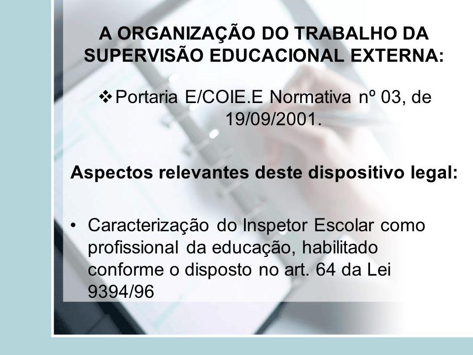 A ORGANIZAÇÃO DO TRABALHO DA SUPERVISÃO EDUCACIONAL EXTERNA: Portaria E/COIE.E Normativa nº 03, de 19/09/2001. Aspectos relevantes deste dispositivo l
