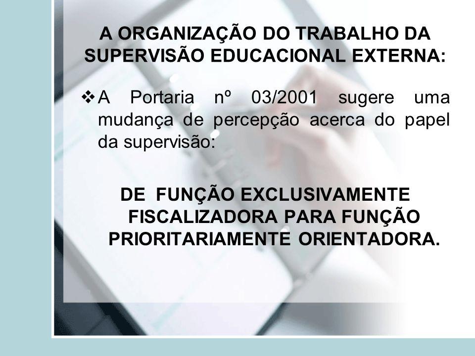A ORGANIZAÇÃO DO TRABALHO DA SUPERVISÃO EDUCACIONAL EXTERNA: A Portaria nº 03/2001 sugere uma mudança de percepção acerca do papel da supervisão: DE F