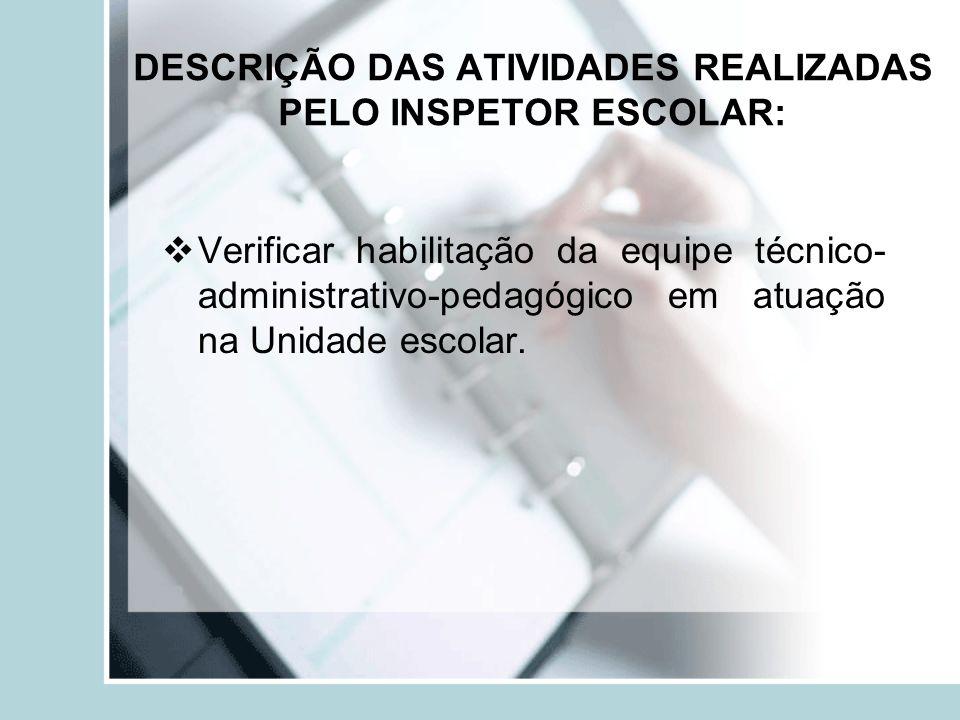 DESCRIÇÃO DAS ATIVIDADES REALIZADAS PELO INSPETOR ESCOLAR: Verificar habilitação da equipe técnico- administrativo-pedagógico em atuação na Unidade es
