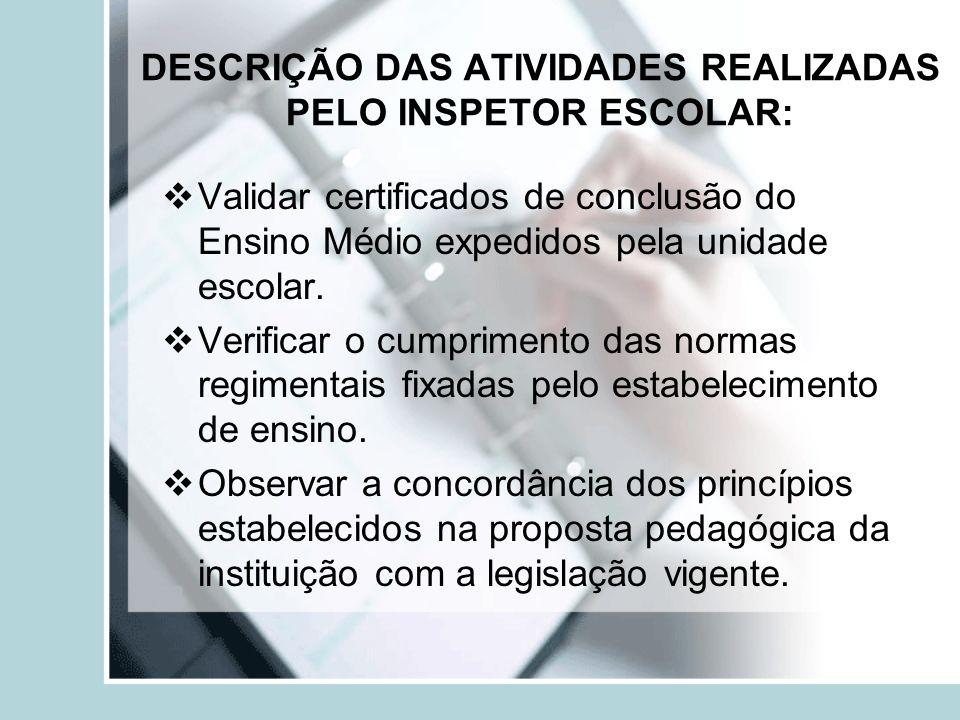 DESCRIÇÃO DAS ATIVIDADES REALIZADAS PELO INSPETOR ESCOLAR: Validar certificados de conclusão do Ensino Médio expedidos pela unidade escolar. Verificar