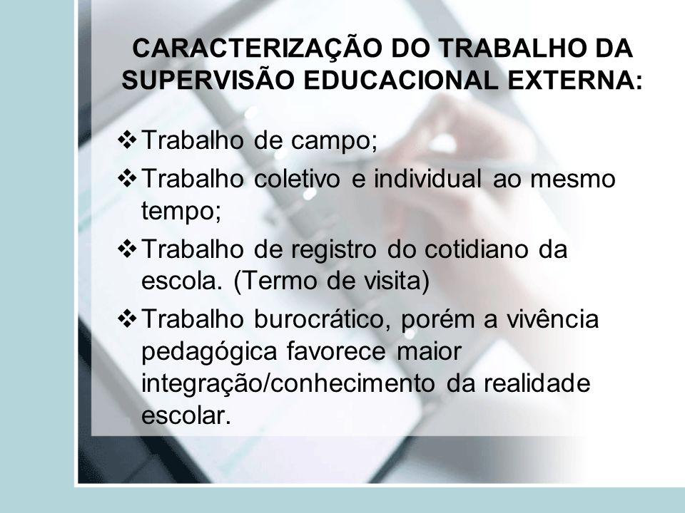 CARACTERIZAÇÃO DO TRABALHO DA SUPERVISÃO EDUCACIONAL EXTERNA: Trabalho de campo; Trabalho coletivo e individual ao mesmo tempo; Trabalho de registro d
