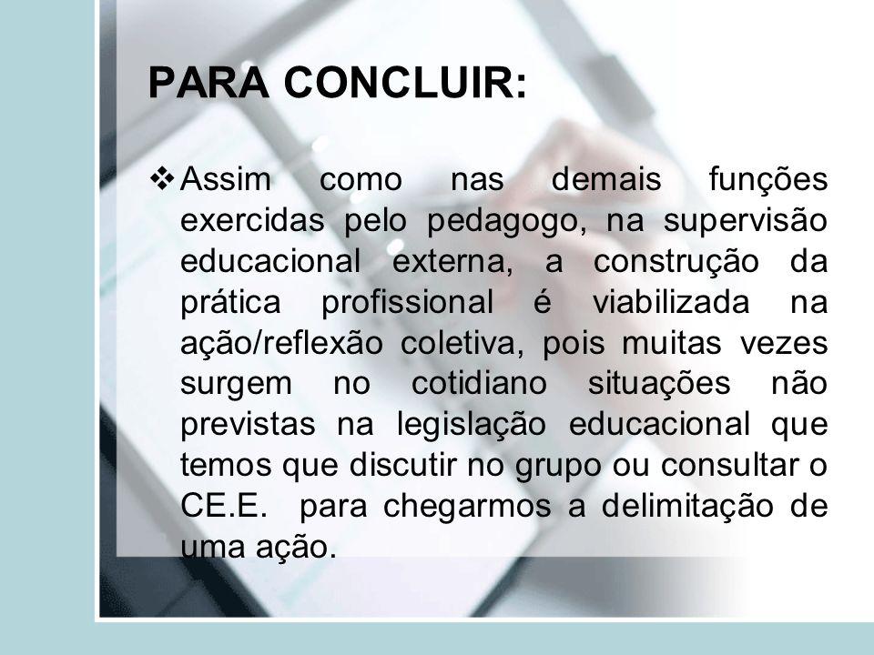 PARA CONCLUIR: Assim como nas demais funções exercidas pelo pedagogo, na supervisão educacional externa, a construção da prática profissional é viabil
