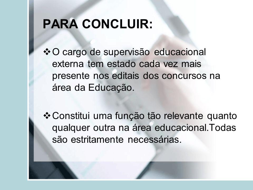 PARA CONCLUIR: O cargo de supervisão educacional externa tem estado cada vez mais presente nos editais dos concursos na área da Educação. Constitui um