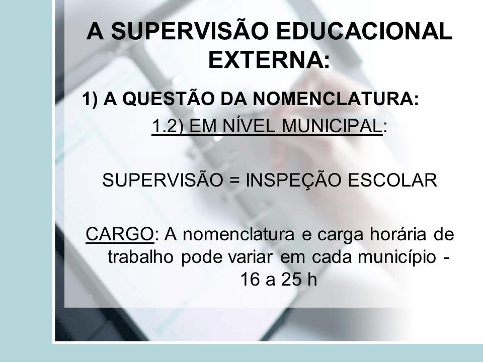 A SUPERVISÃO EDUCACIONAL EXTERNA: 1) A QUESTÃO DA NOMENCLATURA: 1.2) EM NÍVEL MUNICIPAL: SUPERVISÃO = INSPEÇÃO ESCOLAR CARGO: A nomenclatura e carga h