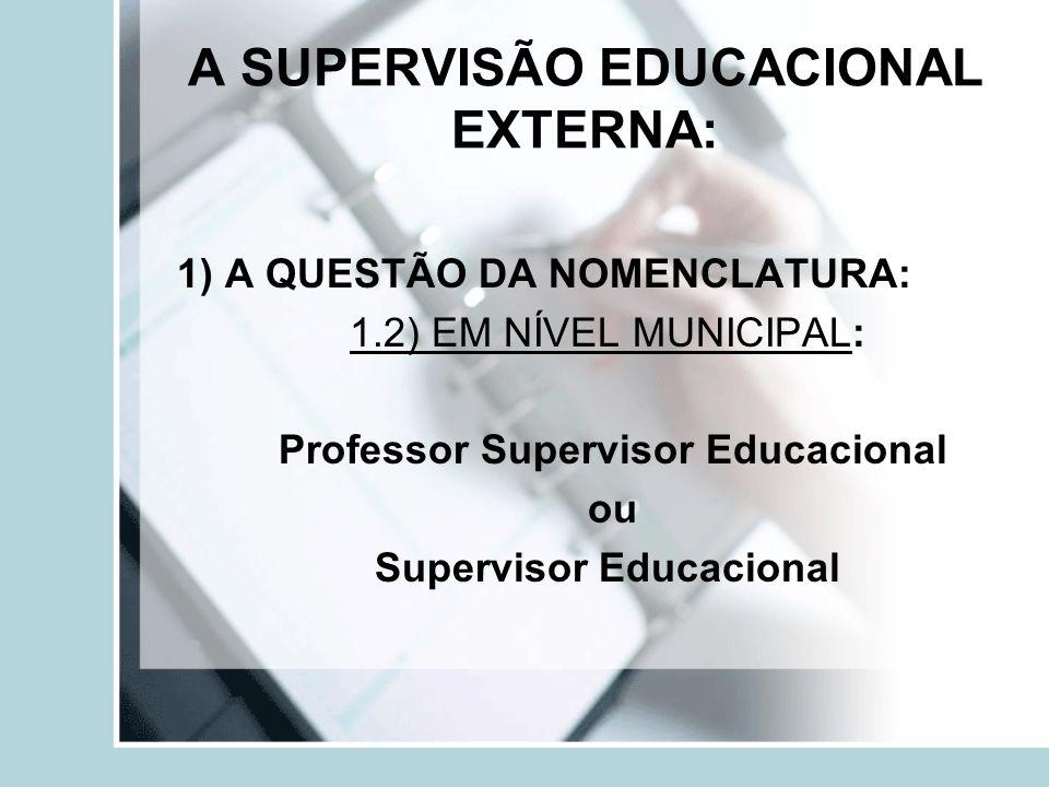 O INGRESSO NO CARGO DE SUPERVISOR EDUCACIONAL EXTERNO Atualmente - concurso público.