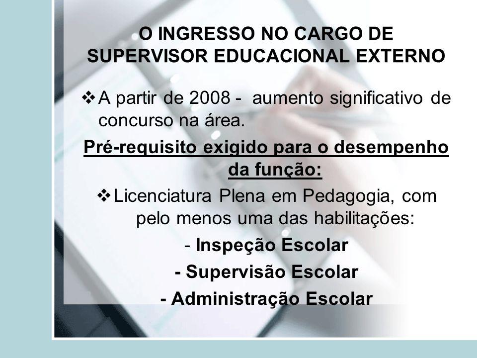O INGRESSO NO CARGO DE SUPERVISOR EDUCACIONAL EXTERNO A partir de 2008 - aumento significativo de concurso na área. Pré-requisito exigido para o desem