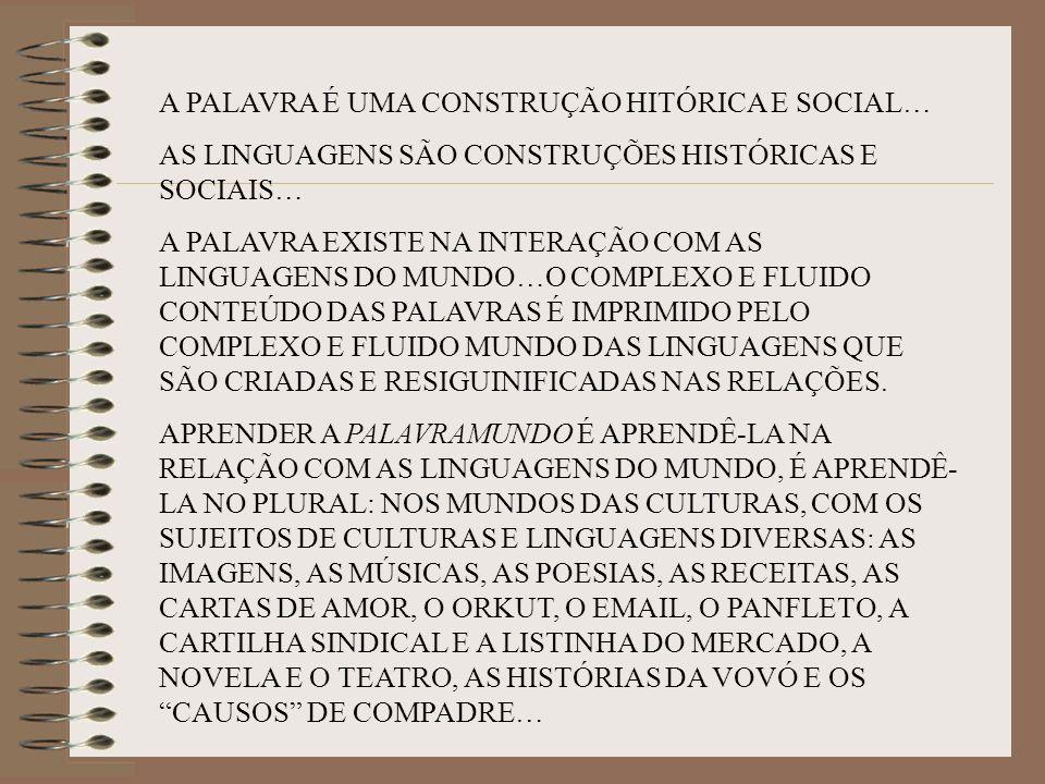 A PALAVRA É UMA CONSTRUÇÃO HITÓRICA E SOCIAL… AS LINGUAGENS SÃO CONSTRUÇÕES HISTÓRICAS E SOCIAIS… A PALAVRA EXISTE NA INTERAÇÃO COM AS LINGUAGENS DO M