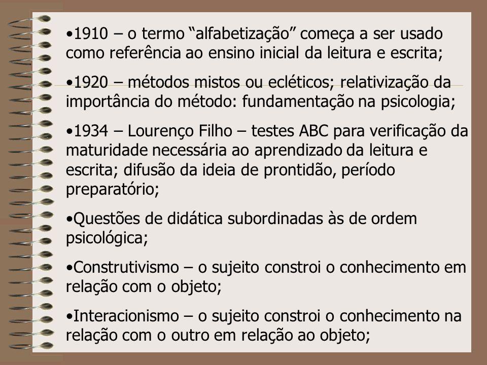 1910 – o termo alfabetização começa a ser usado como referência ao ensino inicial da leitura e escrita; 1920 – métodos mistos ou ecléticos; relativiza
