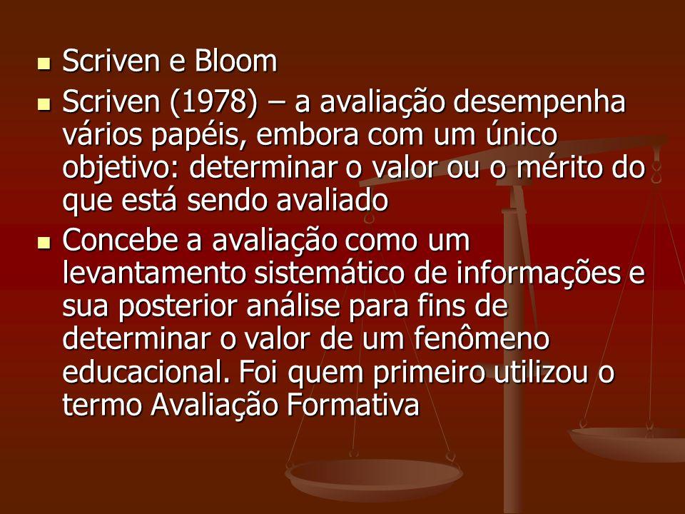 Scriven e Bloom Scriven e Bloom Scriven (1978) – a avaliação desempenha vários papéis, embora com um único objetivo: determinar o valor ou o mérito do