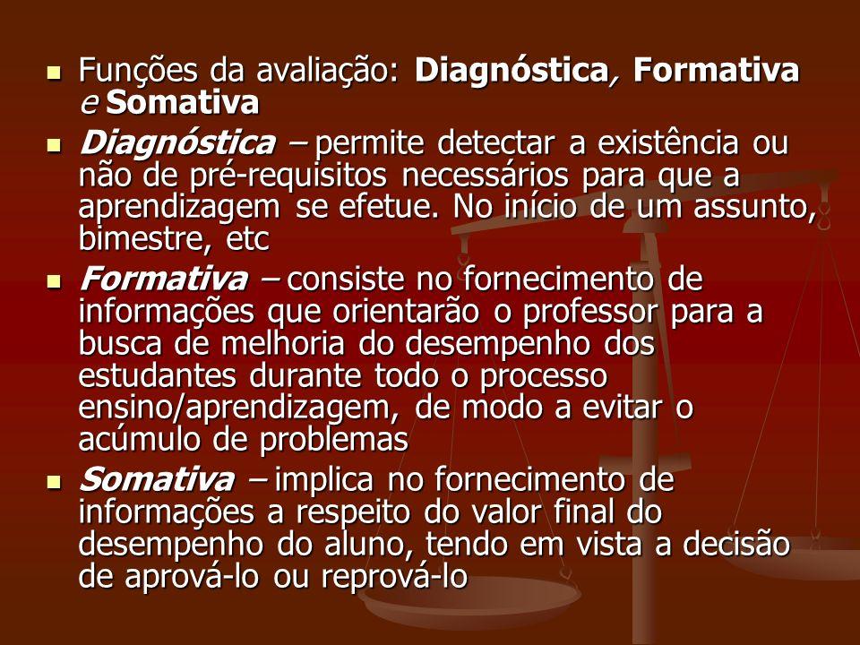 Funções da avaliação: Diagnóstica, Formativa e Somativa Funções da avaliação: Diagnóstica, Formativa e Somativa Diagnóstica – permite detectar a exist