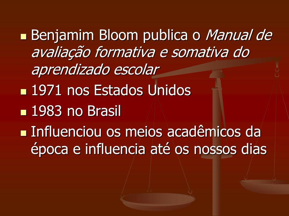 Benjamim Bloom publica o Manual de avaliação formativa e somativa do aprendizado escolar Benjamim Bloom publica o Manual de avaliação formativa e soma