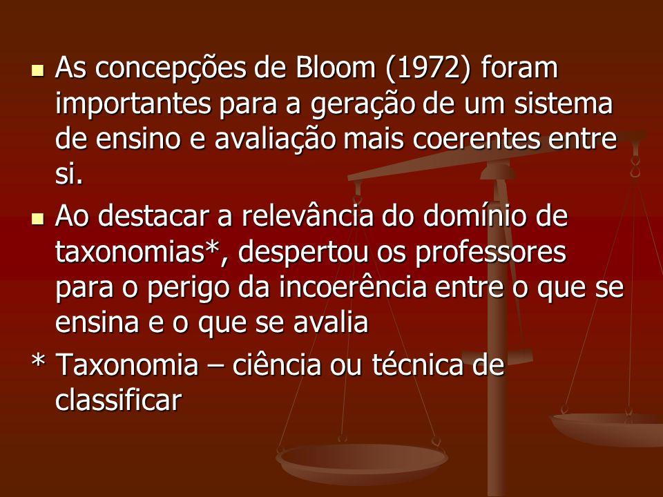 As concepções de Bloom (1972) foram importantes para a geração de um sistema de ensino e avaliação mais coerentes entre si. As concepções de Bloom (19