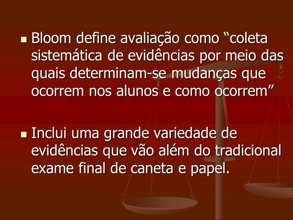 Bloom define avaliação como coleta sistemática de evidências por meio das quais determinam-se mudanças que ocorrem nos alunos e como ocorrem Bloom def