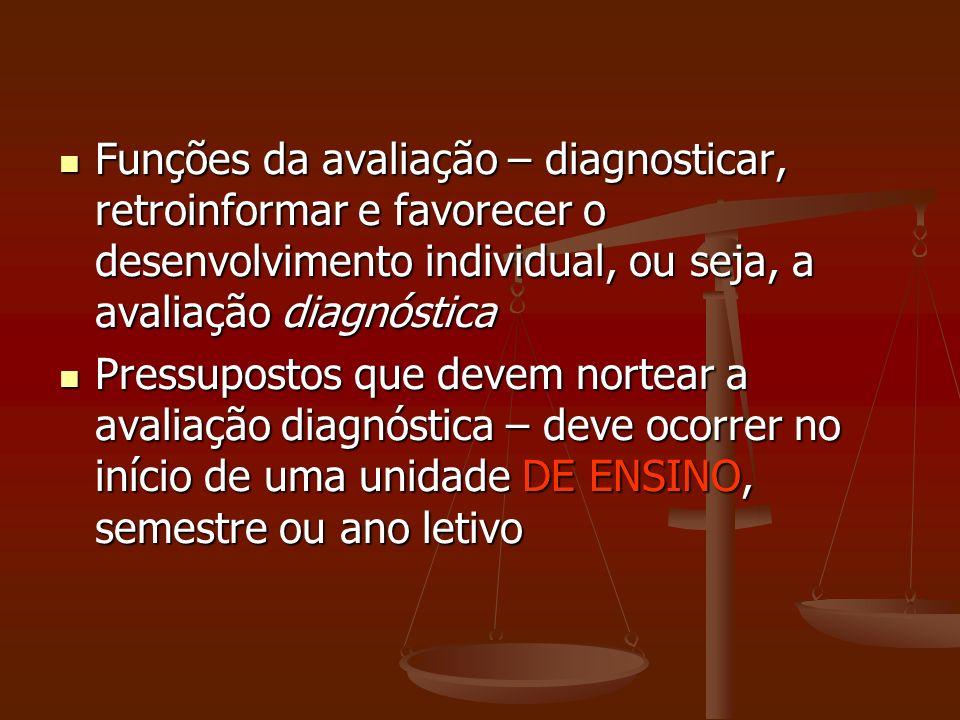 Funções da avaliação – diagnosticar, retroinformar e favorecer o desenvolvimento individual, ou seja, a avaliação diagnóstica Funções da avaliação – d