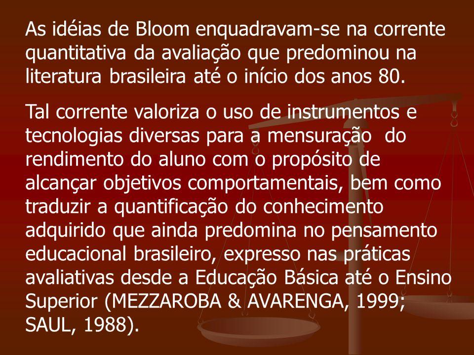 As idéias de Bloom enquadravam-se na corrente quantitativa da avaliação que predominou na literatura brasileira até o início dos anos 80. Tal corrente