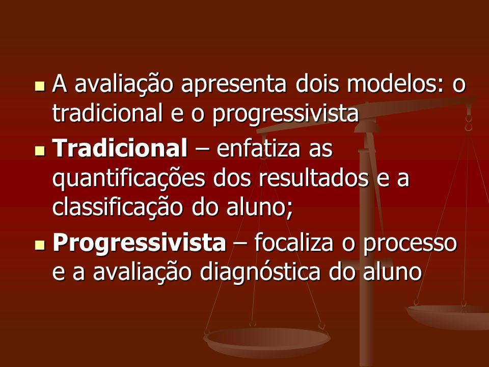 A avaliação apresenta dois modelos: o tradicional e o progressivista A avaliação apresenta dois modelos: o tradicional e o progressivista Tradicional