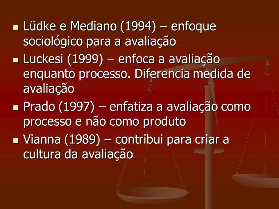 Lüdke e Mediano (1994) – enfoque sociológico para a avaliação Lüdke e Mediano (1994) – enfoque sociológico para a avaliação Luckesi (1999) – enfoca a