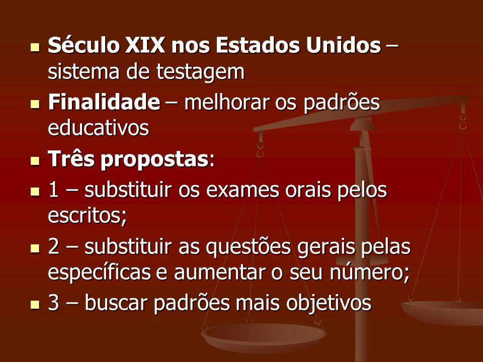Século XIX nos Estados Unidos – sistema de testagem Século XIX nos Estados Unidos – sistema de testagem Finalidade – melhorar os padrões educativos Fi