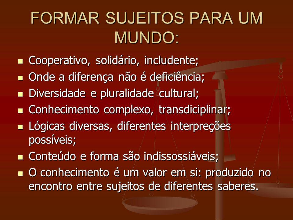 FORMAR SUJEITOS PARA UM MUNDO: Cooperativo, solidário, includente; Cooperativo, solidário, includente; Onde a diferença não é deficiência; Onde a dife