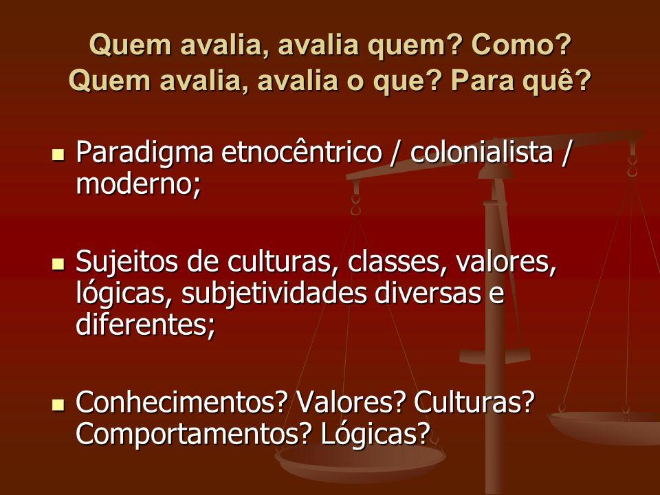 Paradigma etnocêntrico / colonialista / moderno; Paradigma etnocêntrico / colonialista / moderno; Sujeitos de culturas, classes, valores, lógicas, sub