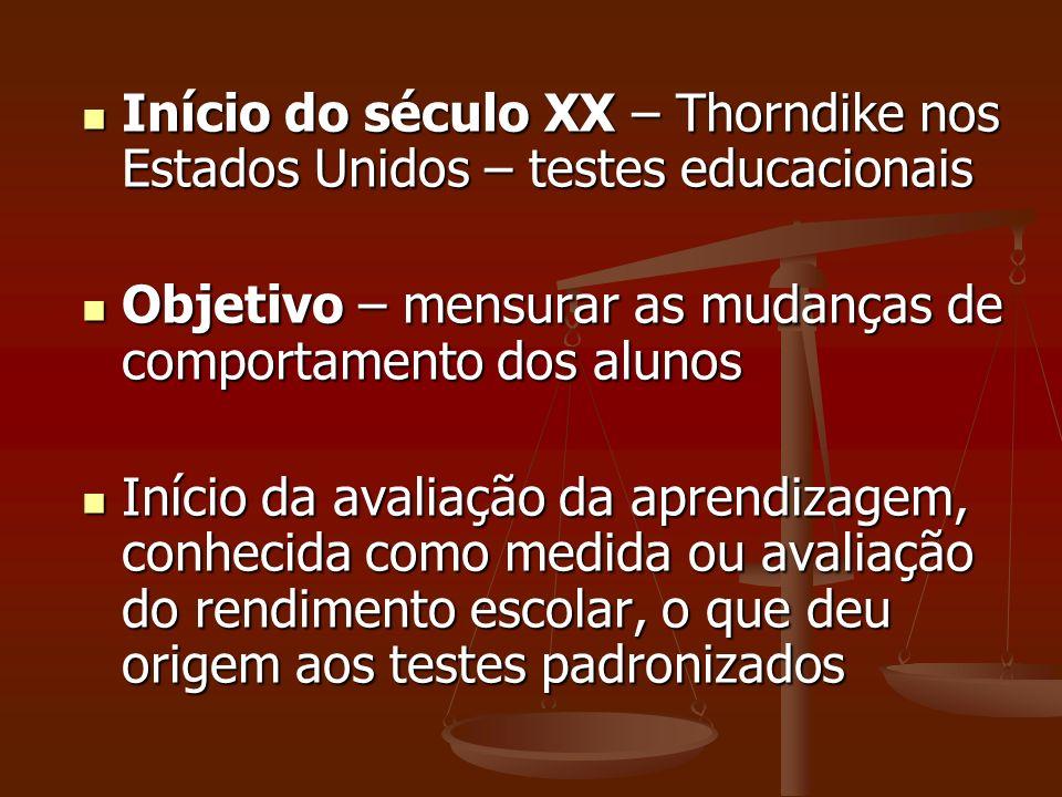 Início do século XX – Thorndike nos Estados Unidos – testes educacionais Início do século XX – Thorndike nos Estados Unidos – testes educacionais Obje
