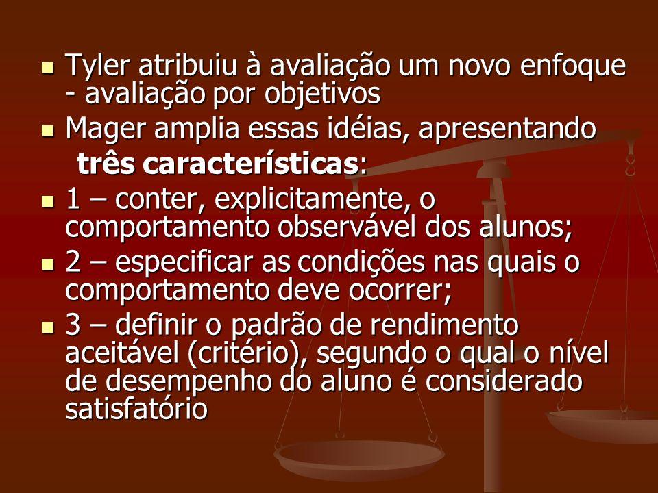 Cronbach (1963) – Cronbach (1963) – quatro pontos sobre avaliação: quatro pontos sobre avaliação: 1 – a associação entre avaliação e o processo de tomada de decisão; 1 – a associação entre avaliação e o processo de tomada de decisão; 2 – os diferentes papéis da avaliação educacional; 2 – os diferentes papéis da avaliação educacional; 3 – o desempenho do estudante como critério de avaliação de cursos; 3 – o desempenho do estudante como critério de avaliação de cursos; 4 – a análise de algumas técnicas de medida à disposição do avaliador educacional.