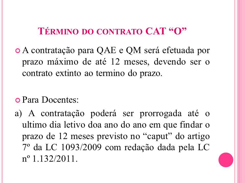 T ÉRMINO DO CONTRATO CAT O A contratação para QAE e QM será efetuada por prazo máximo de até 12 meses, devendo ser o contrato extinto ao termino do pr