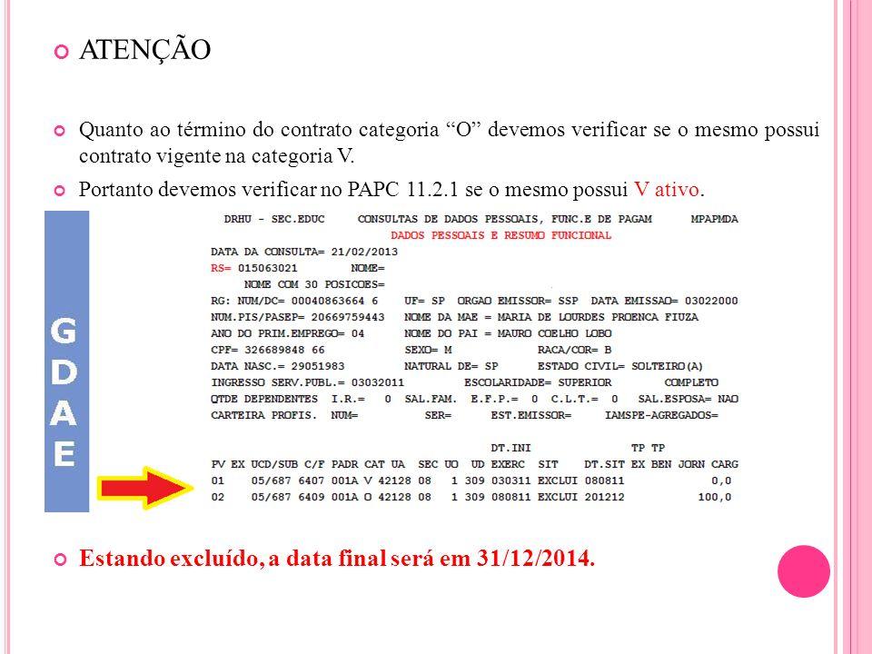 ATENÇÃO Quanto ao término do contrato categoria O devemos verificar se o mesmo possui contrato vigente na categoria V. Portanto devemos verificar no P