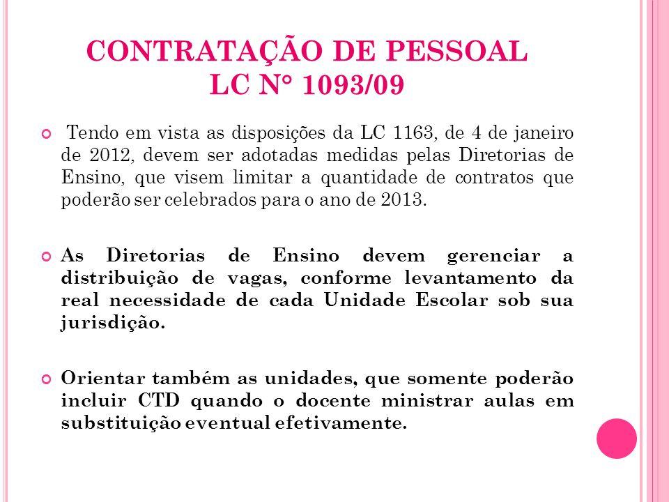 CONTRATAÇÃO DE PESSOAL LC N° 1093/09 Tendo em vista as disposições da LC 1163, de 4 de janeiro de 2012, devem ser adotadas medidas pelas Diretorias de