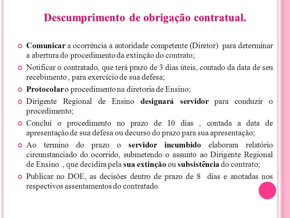 Descumprimento de obrigação contratual. Comunicar a ocorrência a autoridade competente (Diretor) para determinar a abertura do procedimento da extinçã