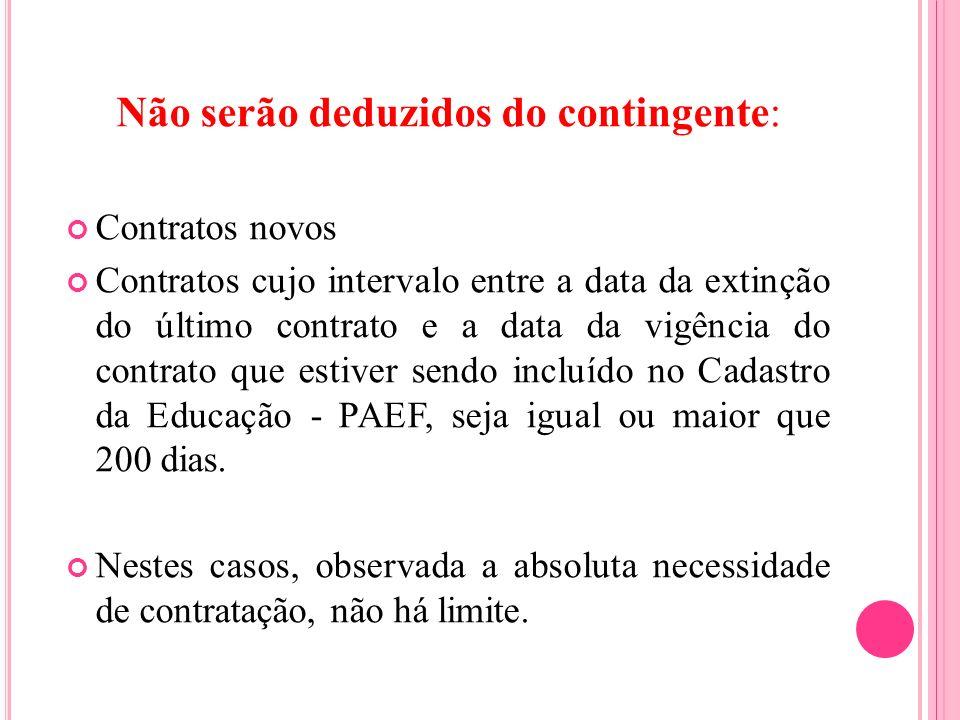 Não serão deduzidos do contingente: Contratos novos Contratos cujo intervalo entre a data da extinção do último contrato e a data da vigência do contr