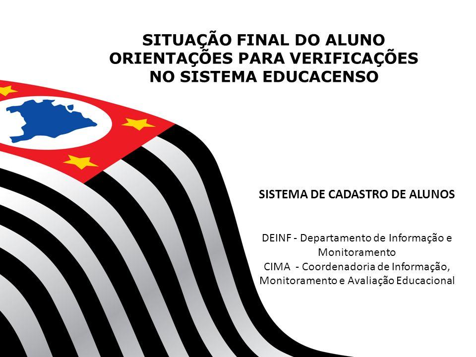 SITUAÇÃO FINAL DO ALUNO ORIENTAÇÕES PARA VERIFICAÇÕES NO SISTEMA EDUCACENSO SISTEMA DE CADASTRO DE ALUNOS DEINF - Departamento de Informação e Monitor