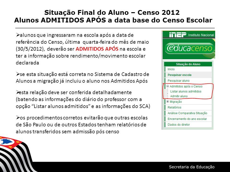 Situação Final do Aluno – Censo 2012 Alunos ADMITIDOS APÓS a data base do Censo Escolar alunos que ingressaram na escola após a data de referência do