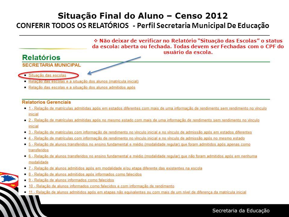 Situação Final do Aluno – Censo 2012 CONFERIR TODOS OS RELATÓRIOS - Perfil Secretaria Municipal De Educação Não deixar de verificar no Relatório Situa